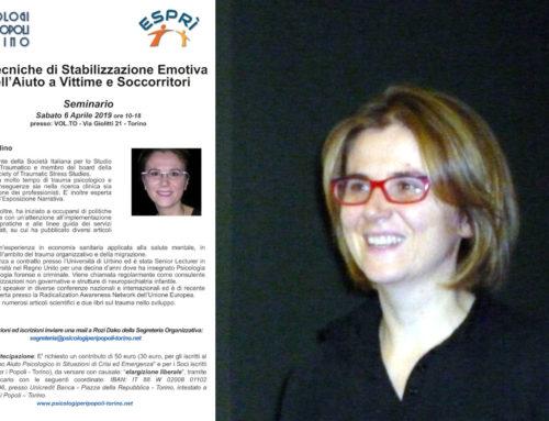Tecniche di Stabilizzazione Emotiva in Aiuto a Vittime e Soccorritori – Seminario con Vittoria Ardino